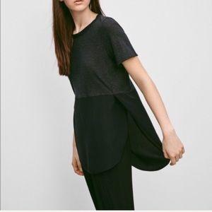 ARITZIA Capucine T-Shirt Silk Bottom Side Slits L